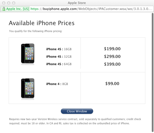 Available iPhone Prices