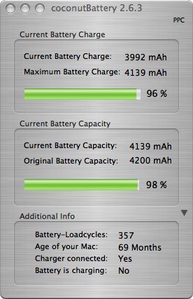 coconut battery results