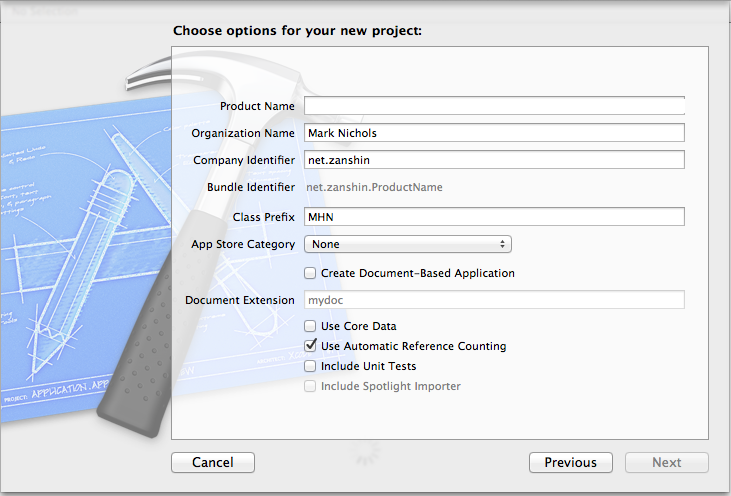 """Xcode now lets you set organization name at project creation time."""