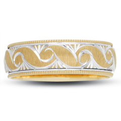10K Two Tone Gold Swirl Wedding Band